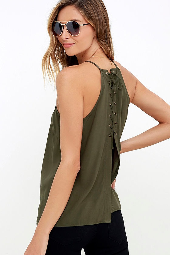 Laced Back Olive Green Lace-Up Top 1