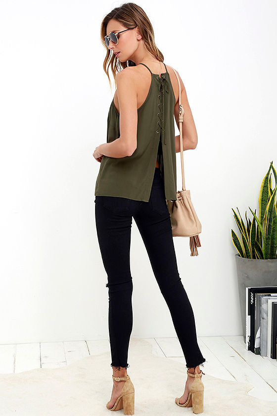 Laced Back Olive Green Lace-Up Top 2