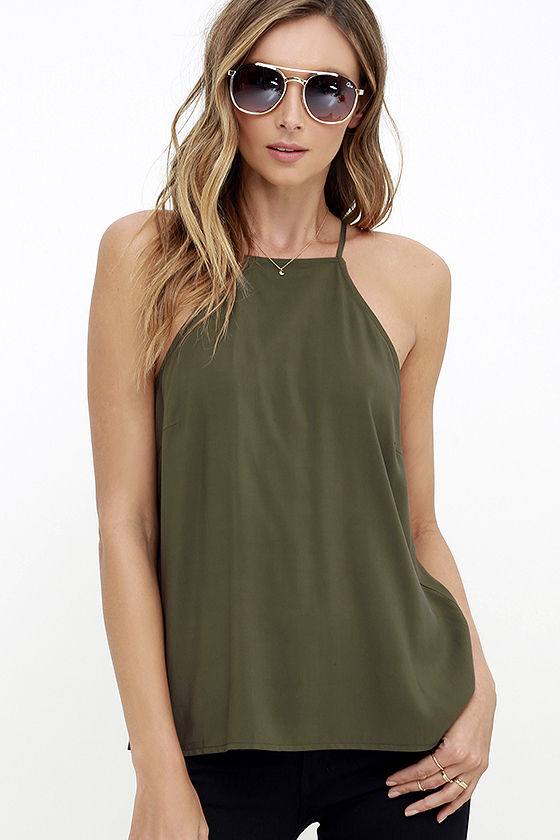 Laced Back Olive Green Lace-Up Top 3