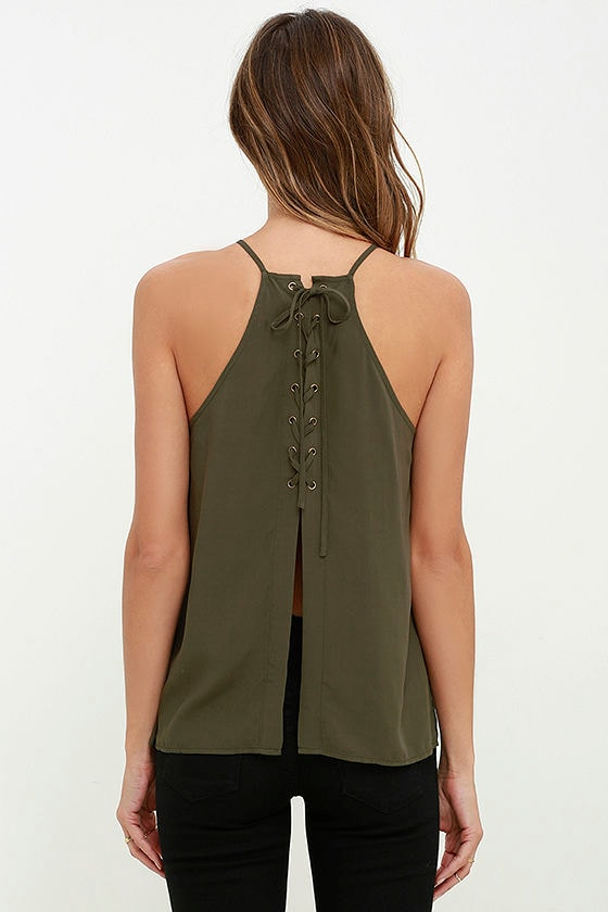 Laced Back Olive Green Lace-Up Top 4