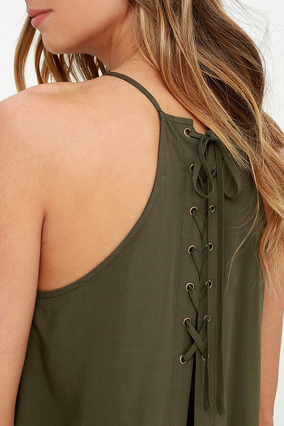Laced Back Olive Green Lace-Up Top 5