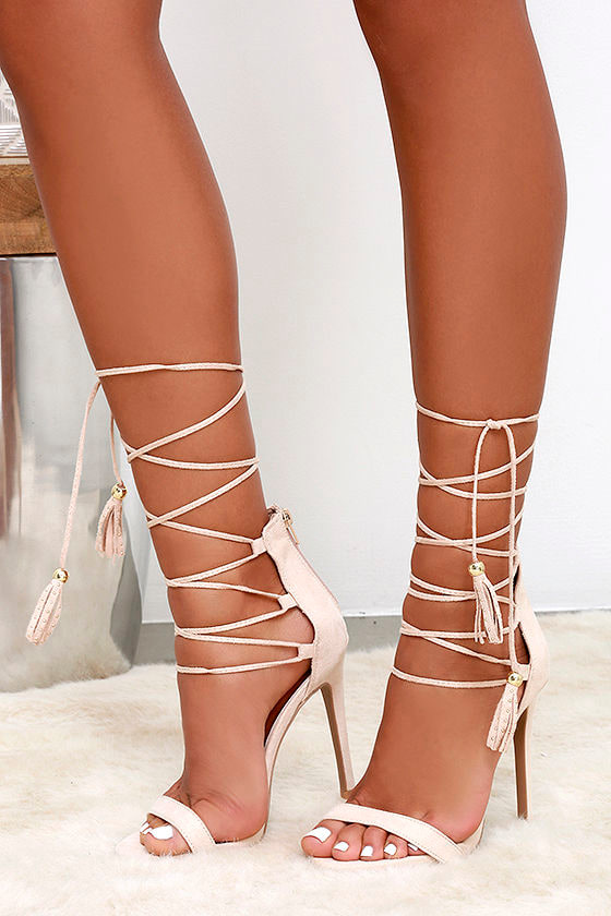 Nude Lace Up Side Ankle Heels | Shoes | PrettyLittleThing AUS