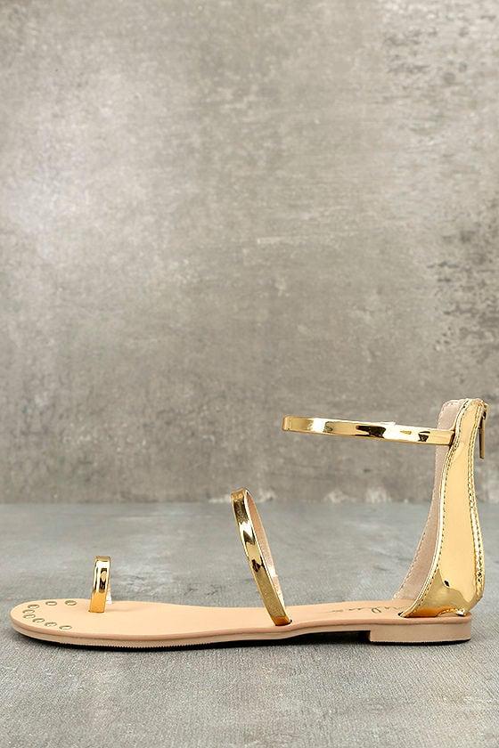 Achilles Gold Flat Ankle Strap Sandals 2