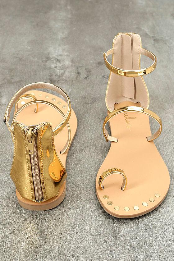 Achilles Gold Flat Ankle Strap Sandals 3