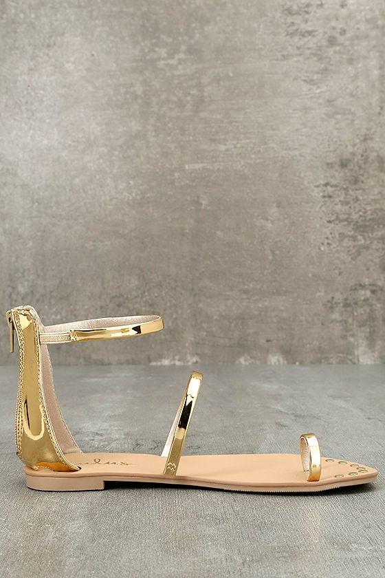 Achilles Gold Flat Ankle Strap Sandals 4