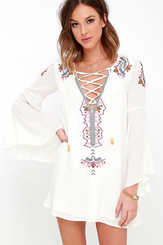 My Bell-Loved Ivory Embroidered Shift Dress 1