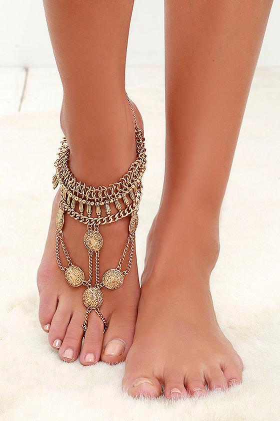 Boho Gold Foot Bracelet Foot Jewelry Foot Chain 1500