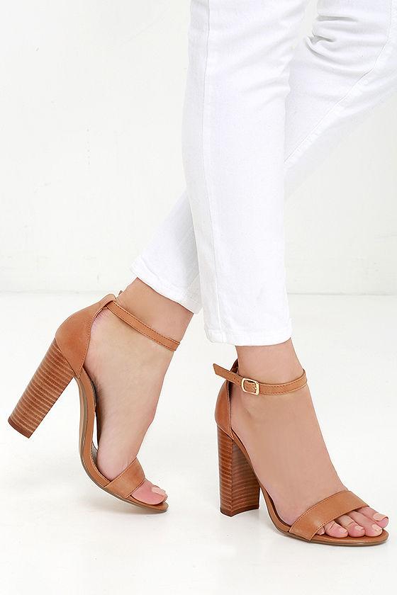 33a2bbac0a5f1 Cute Tan Heels - Leather Heels - Ankle Strap Heels -  89.00