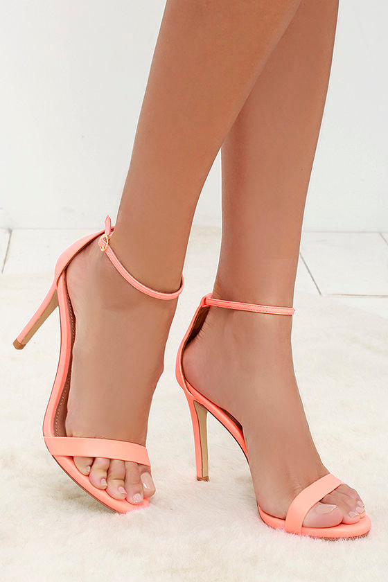 3d7311a1e633 Steve Madden Stecy Coral Heels - Ankle Strap Heels - Single Sole ...