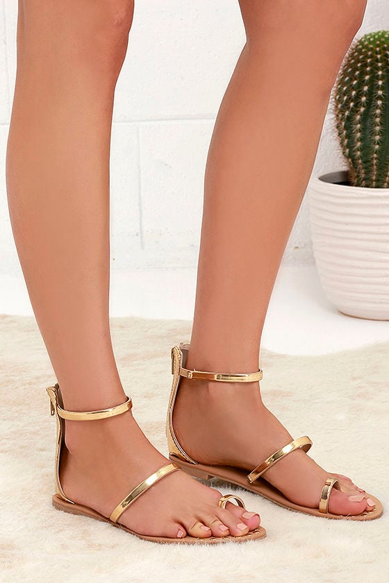 4f9e903a35fb Gold Sandals - Flat Sandals - Ankle Strap Sandals -  20.00