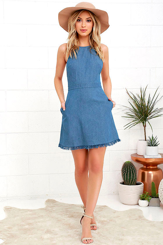 Cute Blue Dress Chambray Dress Halter Dress 49 00