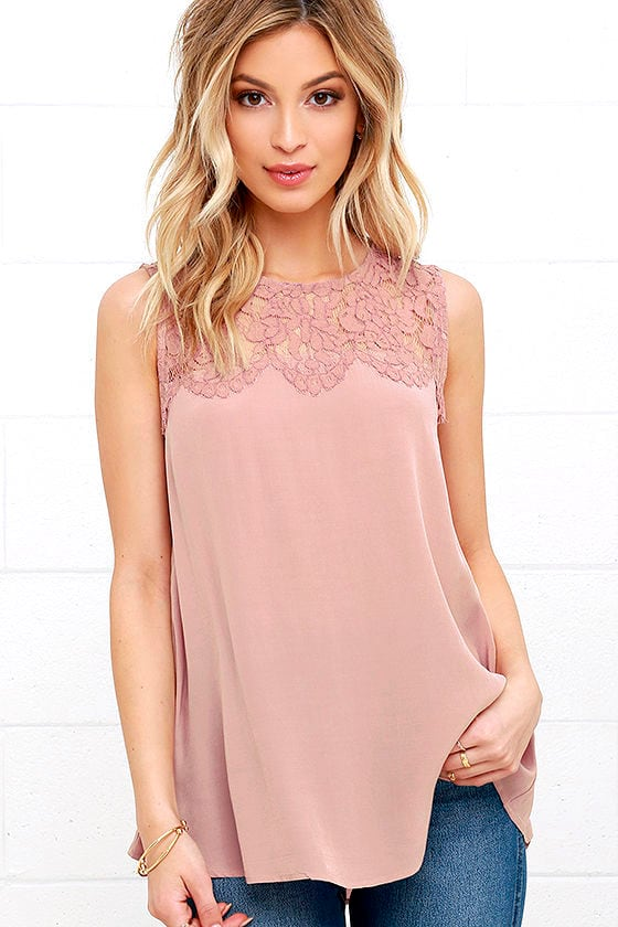 Place in the Sun Mauve Lace Top 2