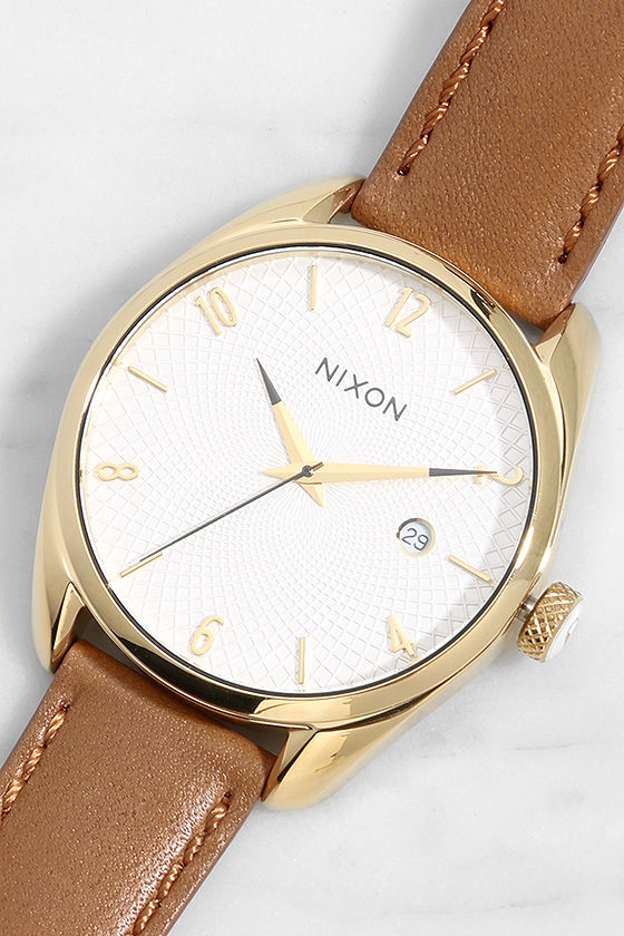Nixon Bullet Gold and Tan Leather Watch 1