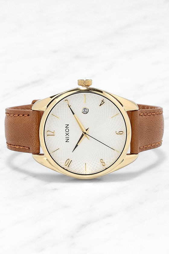 Nixon Bullet Gold and Tan Leather Watch 3