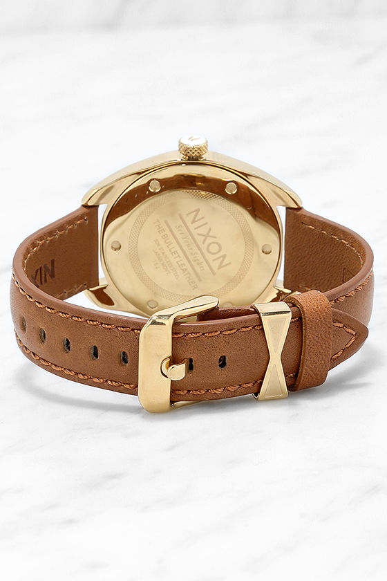 Nixon Bullet Gold and Tan Leather Watch 4