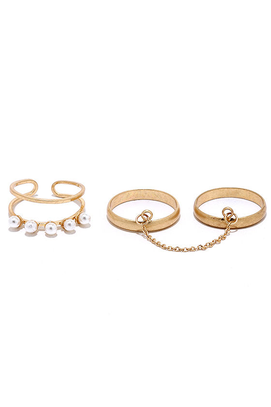 On-Set Gold Ring Set 3