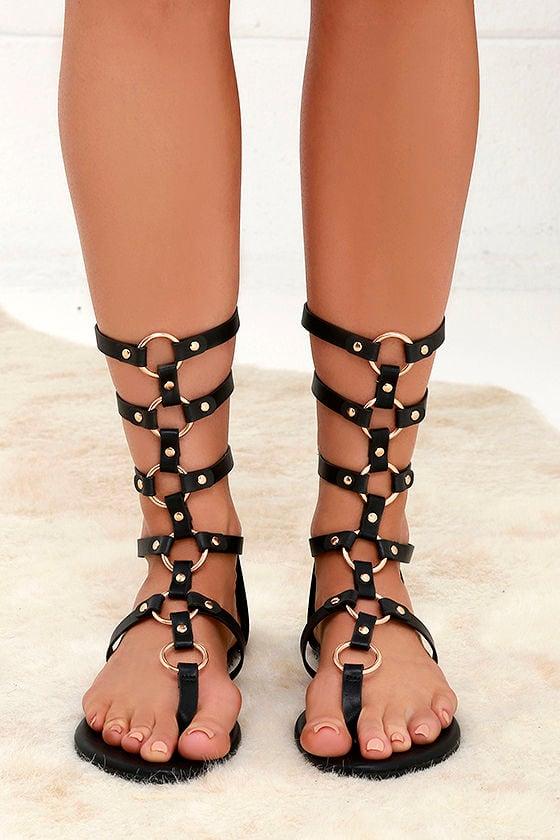 High Spirits Black Gladiator Sandals 2