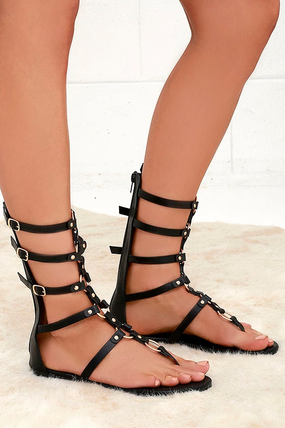 High Spirits Black Gladiator Sandals 3