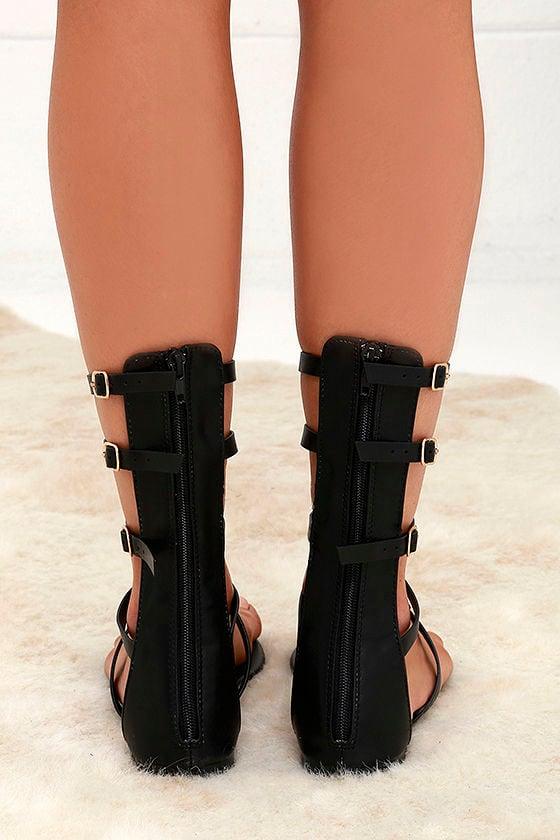 High Spirits Black Gladiator Sandals 4