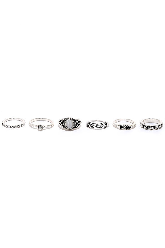 Under Your Charm Silver Ring Set 2
