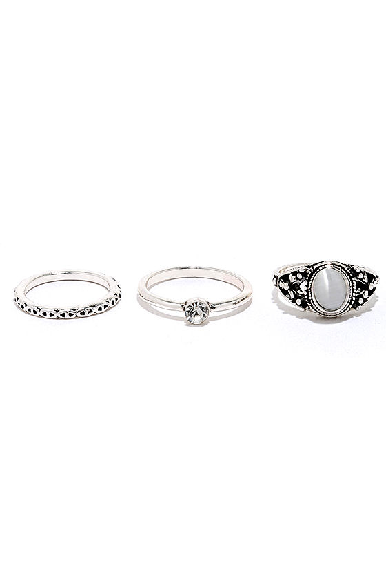 Under Your Charm Silver Ring Set 3