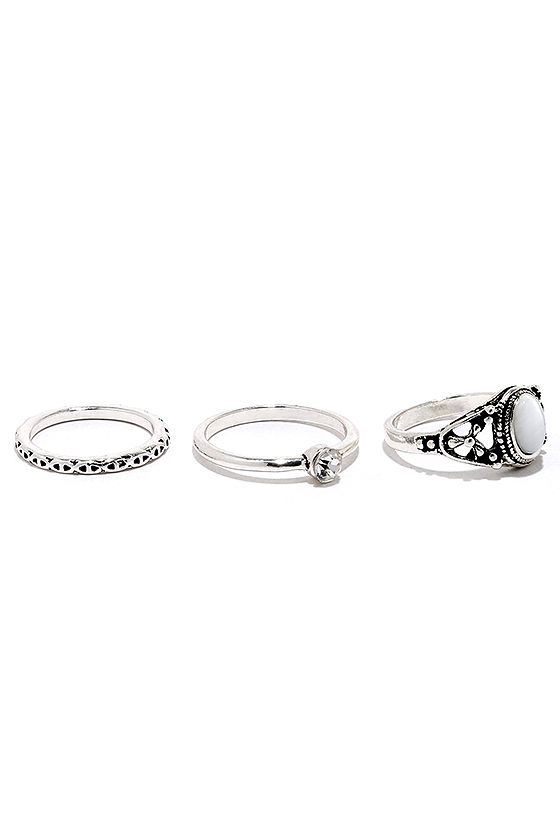 Under Your Charm Silver Ring Set 4