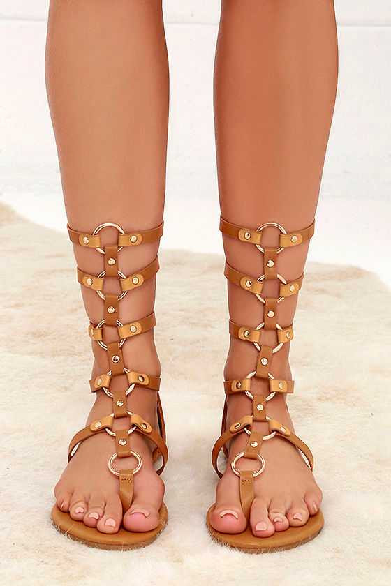 db4a328c57a Cute Camel Sandals - Gladiator Sandals - Flat Sandals