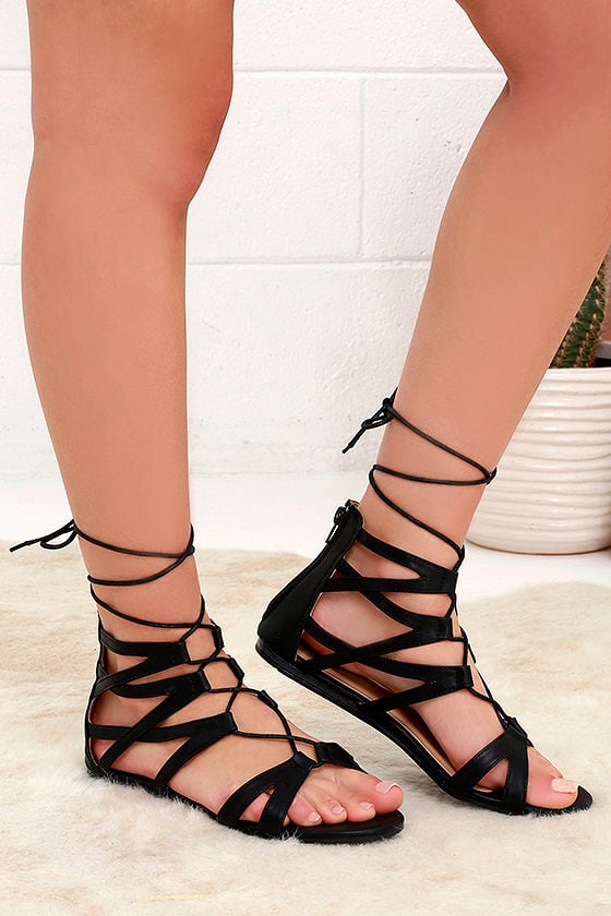 6dcc3003e873 Cute Black Lace-Up Sandals - Gladiator Sandals - Flat Sandal