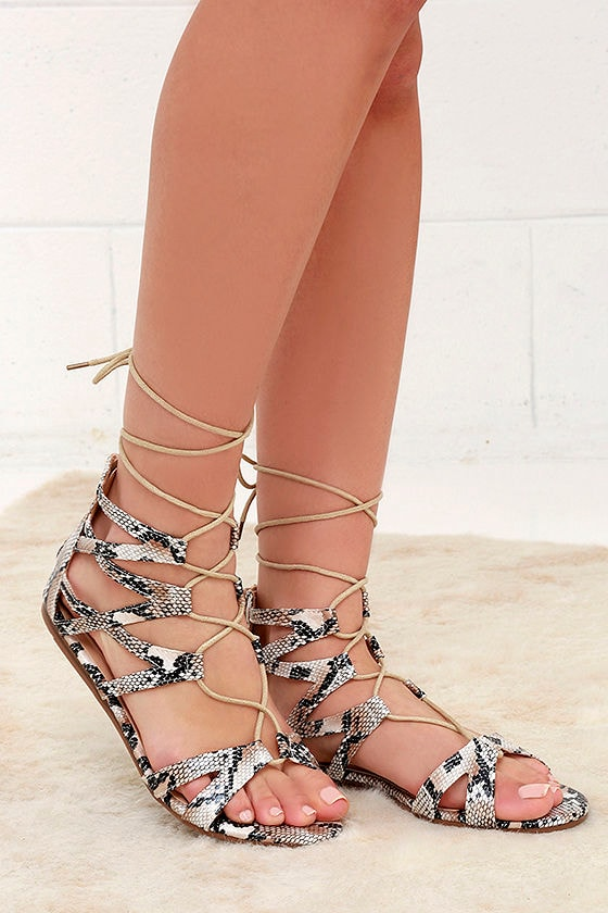 9a175903f2 Cute Snakeskin Sandals - Gladiator Sandals - Flat Sandals - $31.00