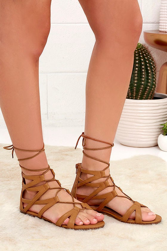 c1ca278dde8 Cute Lace-Up Sandals - Camel Gladiator Sandals - Flat Sandal