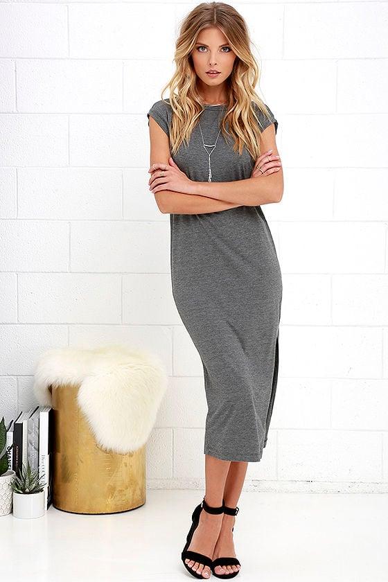 0a9bf5ab534e Cute Casual Dress - Dark Grey Dress - Shift Dress - Midi Dress -  29.00