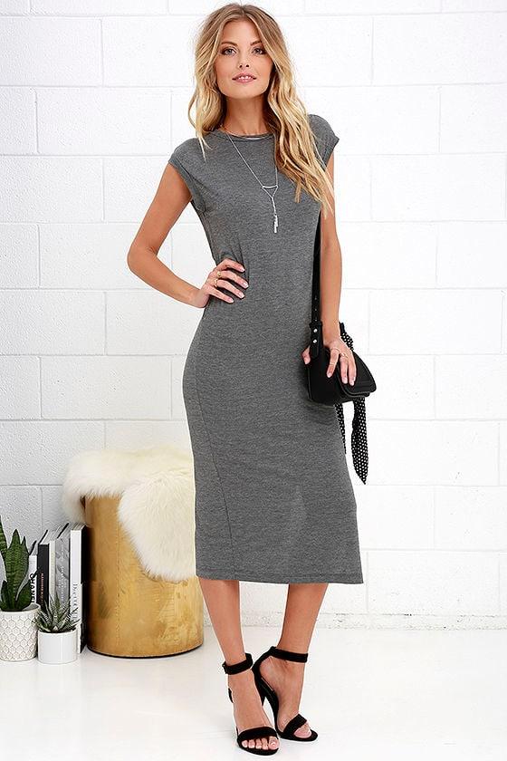 6f3c4dcf88ea Cute Casual Dress - Dark Grey Dress - Shift Dress - Midi Dress -  29.00