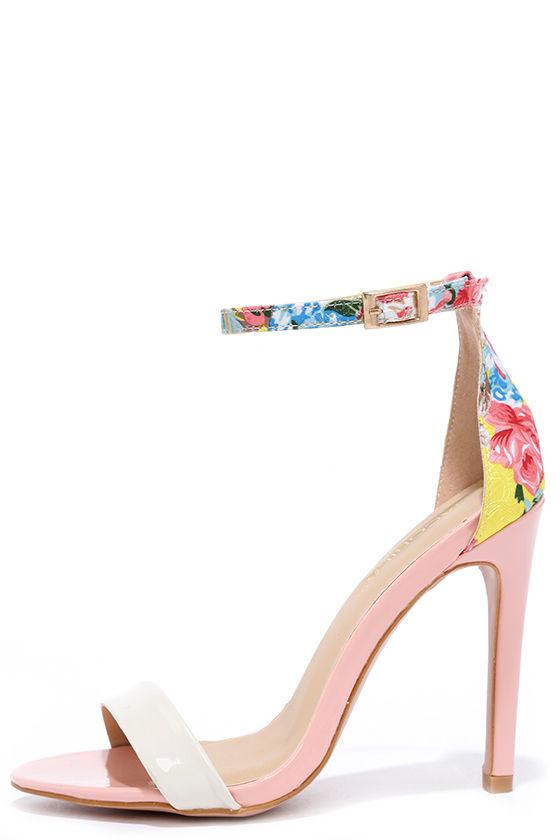 dfa97795d Cute Pink Heels - Floral Heels - Ankle Strap Heels -  33.00