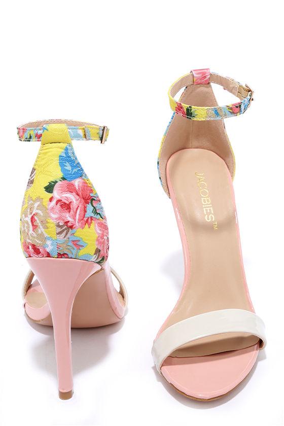 Cute Pink Heels - Floral Heels - Ankle Strap Heels - $33.00