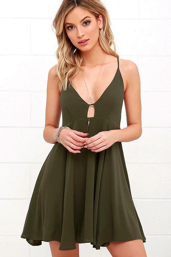 cute olive green dress  sleeveless dress  4900