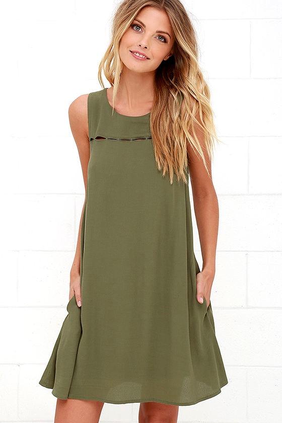 55d70a52cc88 Cute Olive Green Dress - Cutout Dress - Sleeveless Dress -  48.00