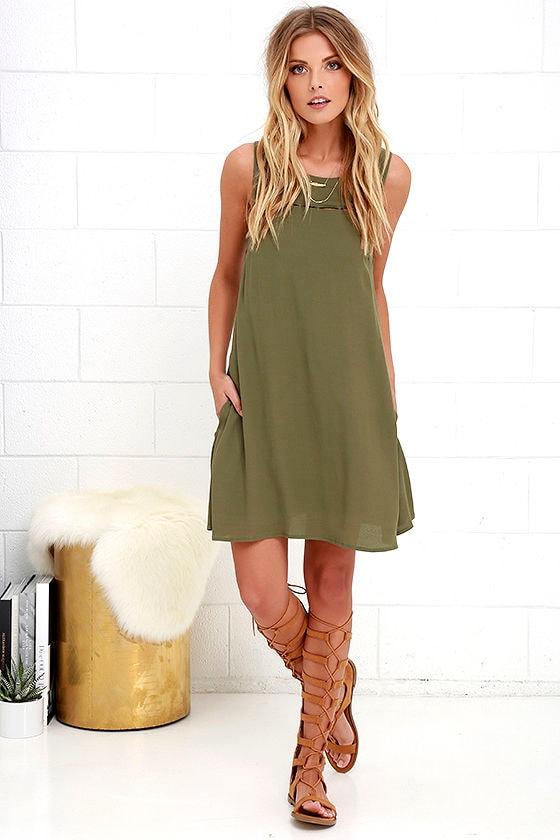 f2df37499ae Cute Olive Green Dress - Cutout Dress - Sleeveless Dress -  48.00