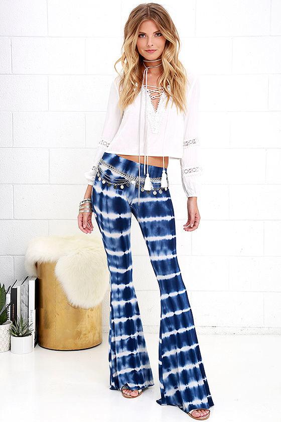 Boho Flare Pants Blue Tie Dye Pants Casual Pants 36 00