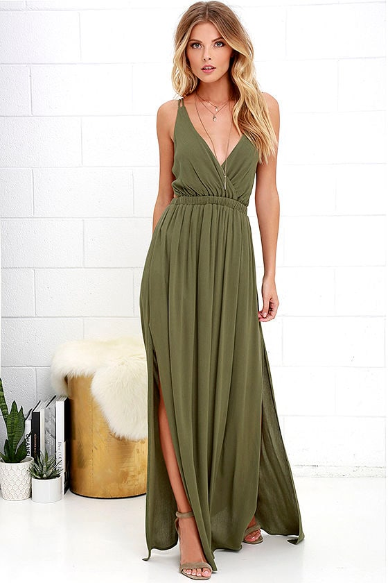 Olive Green Dress - Strappy Dress - Maxi Dress - $54.00