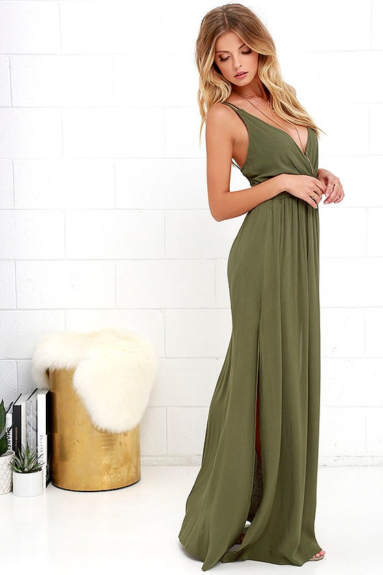 Lost in Paradise Olive Green Maxi Dress 2
