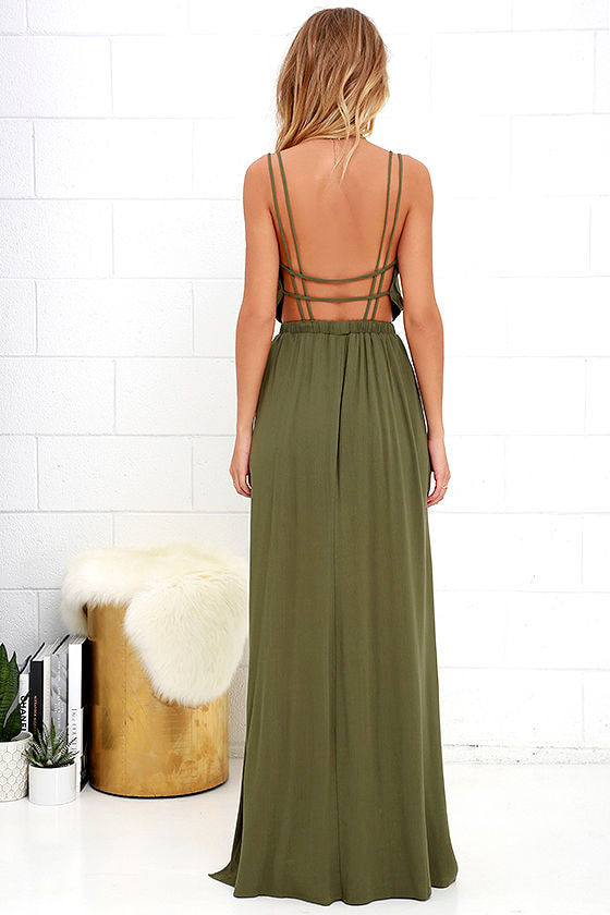 Lost in Paradise Olive Green Maxi Dress 4
