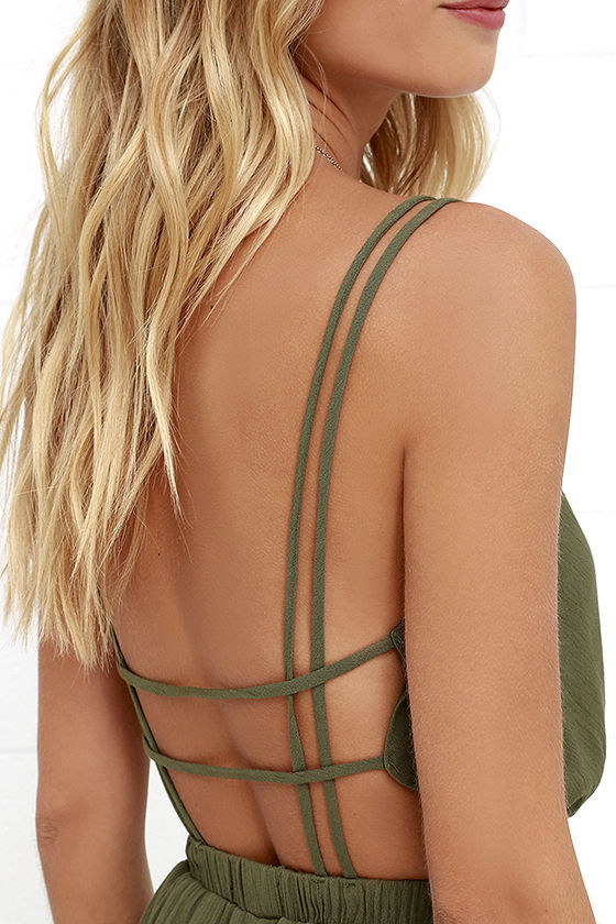Lost in Paradise Olive Green Maxi Dress 5