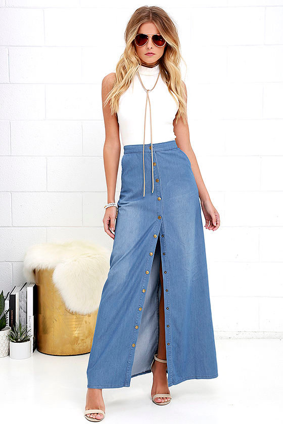 Cute Chambray Skirt - Blue Skirt - Maxi Skirt - $42.00
