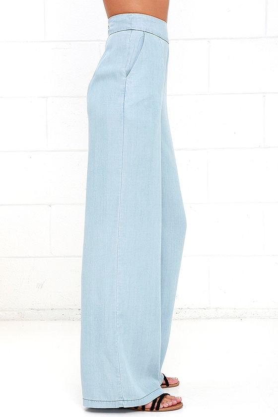 BB Dakota Skylee - Chambray Pants - Wide-Leg Pants - High-Waisted ...