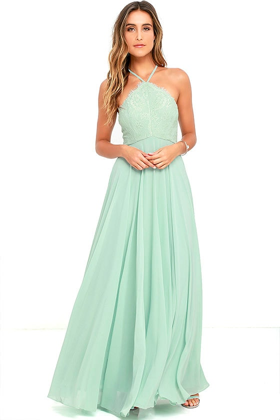 Stunning Sage Green Dress Maxi Dress Halter Dress