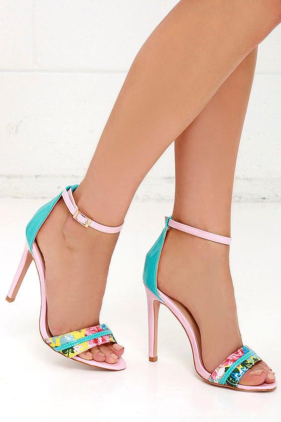 Cute Pink Heels - Ankle Strap Heels - Floral Heels - $34.00