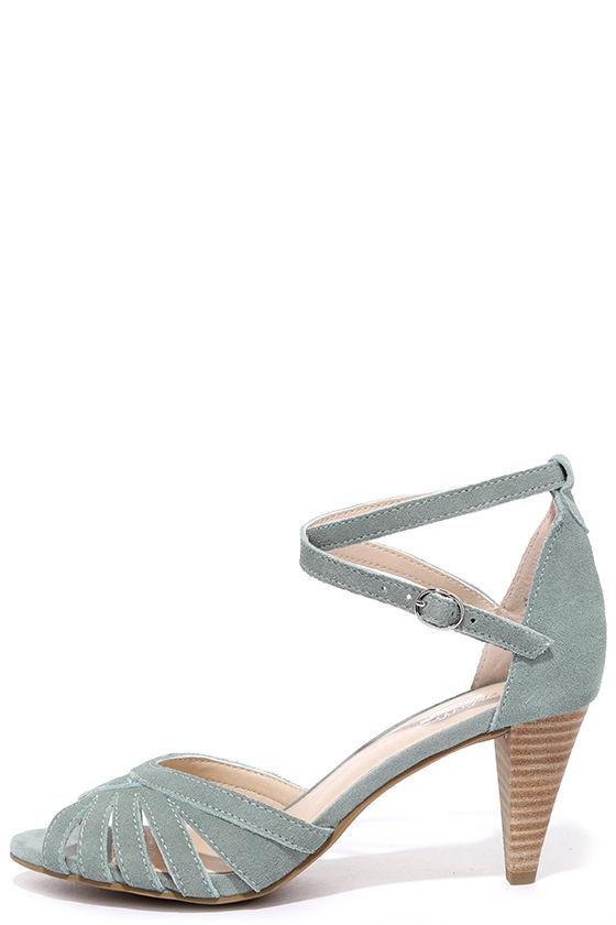 be23697794a6 Light Blue Heels - Leather Heels - Dress Sandals -  103.00