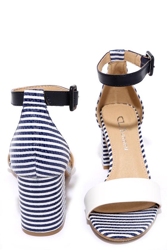 Cute Navy Heels Striped Heels Nautical Heels 49 00