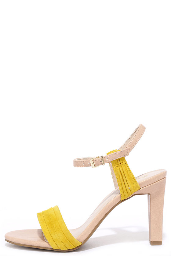 Cute Yellow Heels - Nude Heels - Leather Heels - $103.00