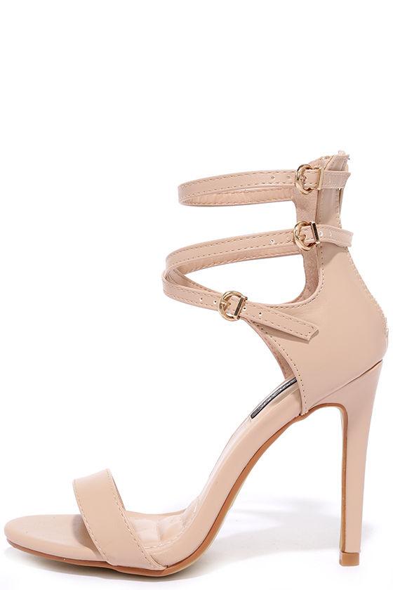 Nude Heels - Ankle Strap Heels - Vegan Leather Heels - Beige Heels ...